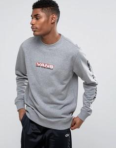 Серый свитшот с принтом на рукавах Vans Side Waze VA36KD02F - Серый