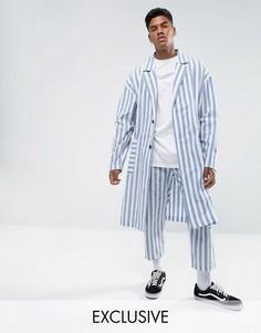Легкое пальто в полоску Reclaimed Vintage Inspired - Синий