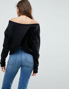Свитшот с открытыми плечами и запахом на спине ASOS - Черный
