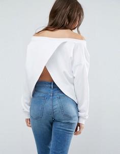 Свитшот с открытыми плечами и запахом на спине ASOS - Белый
