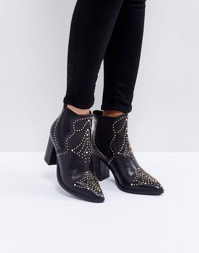 Кожаные ботинки с заклепками Steve Madden Himmel - Черный