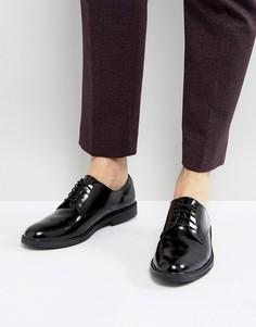 Блестящие кожаные туфли-дерби на шнуровке Zign - Черный