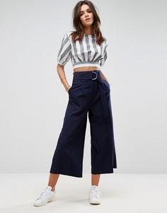 Однотонная юбка-брюки с поясом и крупной D-образной пряжкой ASOS - Темно-синий