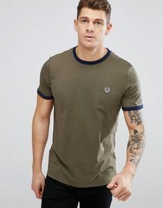 Оливковая футболка узкого кроя с контрастной отделкой Fred Perry Sports Authentic - Зеленый