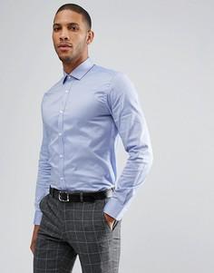 Строгая облегающая рубашка из фактурной ткани Moss London - Темно-синий