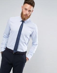 Строгая приталенная рубашка с двойными манжетами Moss London - Синий