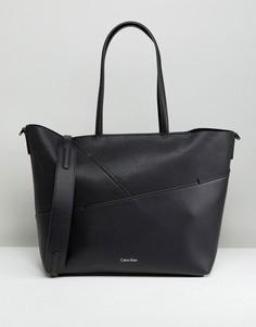 Сумка-тоут среднего размера со строчкой Calvin Klein - Черный