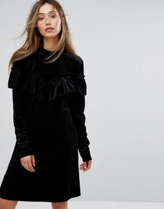 Черное бархатное платье с оборкой Gestuz - Черный