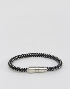 Плетеный черно-белый браслет Seven London - Черный