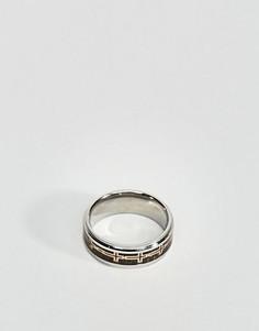 Серебристо-черное кольцо Seven London - Серебряный