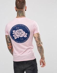 Розовая футболка с принтом розы на спине Hype - Розовый