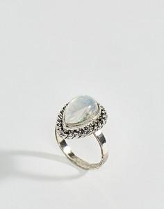 Кольцо с камнем в форме капли ASOS Mermaid - Серебряный