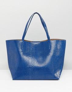 Сумка-тоут с эффектом кожи питона Glamorous - Синий