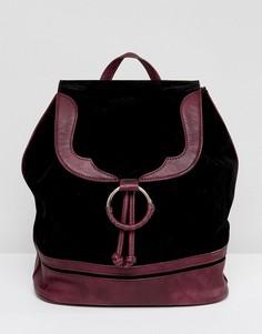 Рюкзак из искусственной замши с бордовой отделкой Glamorous - Черный