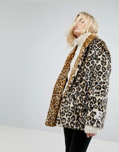 Искусственный полушубок с леопардовым узором Maison Scotch - Мульти