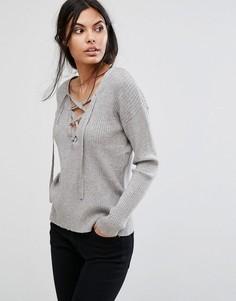 Трикотажная блузка с длинными рукавами Pieces Filla - Серый