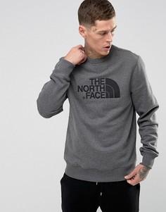 Серый меланжевый свитшот с круглым вырезом и логотипом The North Face - Серый
