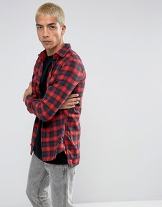 Красная фланелевая рубашка-оверсайз в клетку Sixth June - Красный