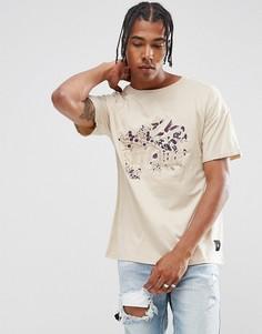 Песочная футболка оверсайз с цветочной вышивкой Sixth June - Светло-серый