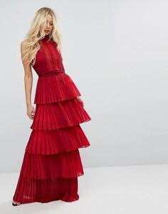 Платье макси с кружевным лифом и поясом Bodyfrock - Красный