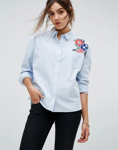 Рубашка с цветочной вышивкой Tommy Hilfiger Denim - Синий