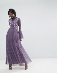 Сетчатое премиум-платье макси с оборками и вышивкой Lace & Beads - Серый