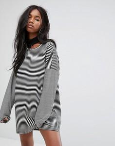 Платье-футболка свободного кроя в полоску The Ragged Priest - Черный