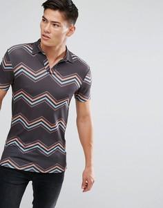Облегающая футболка-поло в полоску ASOS - Черный
