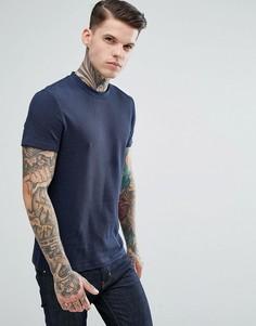Темно-синяя фактурная футболка из вафельного трикотажа ASOS - Темно-синий