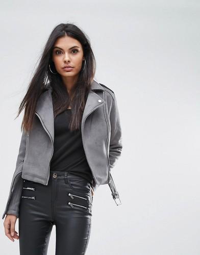 Замшевая байкерская куртка Lipsy - Серый