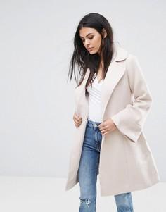 Пальто с запахом и расклешенными рукавами Lipsy - Рыжий