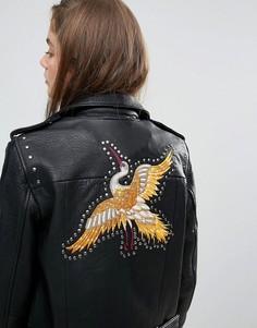 Кожаная байкерская куртка Gestuz - Черный
