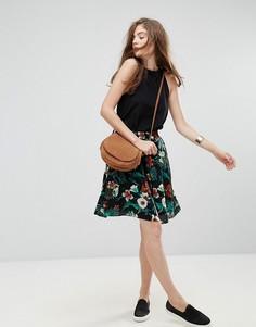 Расклешенная юбка с цветочным принтом Gestuz Narissa - Черный