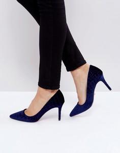 Бархатные туфли-лодочки с острым носком Dune Aisha - Темно-синий