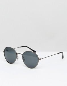 Круглые солнцезащитные очки в металлической оправе ASOS - Серый