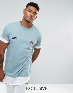 Синяя двухслойная футболка с логотипом у нижнего края Ellesse - Синий