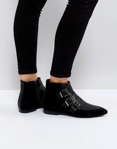 Замшевые ботинки с пряжками Pieces - Черный