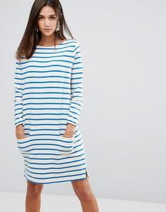 Свободное платье в бретонскую полоску YMC - Белый