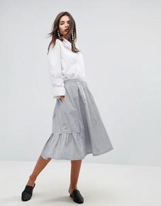 Хлопковая юбка-трапеция миди с фигурным краем YMC - Синий
