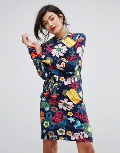 Свободное платье с принтом Love Moschino - Темно-синий