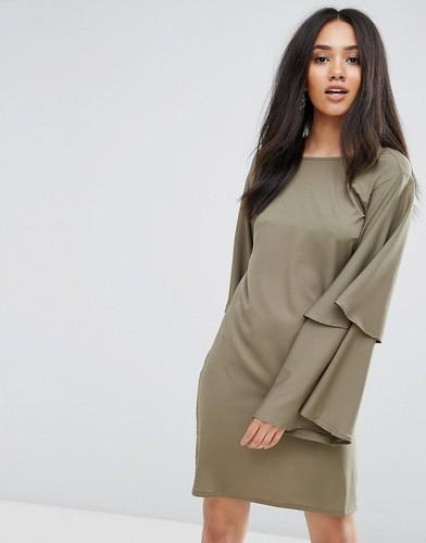 Платье-туника цвета хаки с пышными рукавами Ax Paris - Зеленый