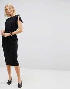 Платье миди с поясом, разрезами на рукавах и юбкой‑карандаш ASOS - Черный