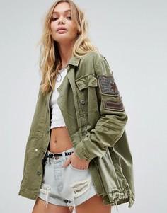 Куртка в стиле милитари с отделкой Free People - Зеленый