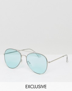 Солнцезащитные очки-авиаторы с цветными стеклами Monki - Синий