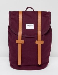 Рюкзак из органического хлопка с кожаными ремешками Sandqvist Stig - Красный