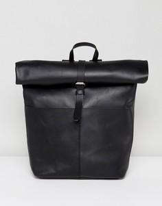 Черный кожаный рюкзак с ролл-топом Sandqvist Antonia - Черный