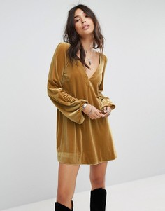 Бархатное платье мини Free People - Золотой