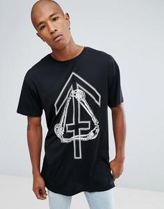Черная длинная футболка с принтом костей New Look - Черный