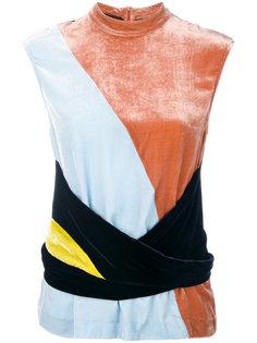 colour block velvet top Cédric Charlier