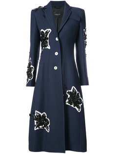 Long Tailored Notch Lapel Coat With Lily Embroidery Derek Lam